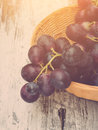 Grapes in basket red vintage toned with sunlight Stock Photography