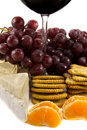 Grapes with a bit of a red wine glass Royalty Free Stock Photo