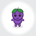 Grapes character, plum character. Grapes or plums mascot logo. Vector illustration Royalty Free Stock Photo