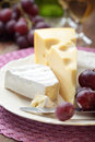 Grapes and cheese Stock Image