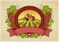 Grapes harvest label Royalty Free Stock Photo