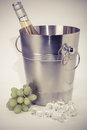 Grapes, ice bucket with bottle of  Wine   on a white background Royalty Free Stock Photo