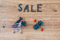 Grapes inside small shopping cart, word sale and percent sign Royalty Free Stock Photo