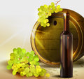 Grapes and old barrel. Stock Photo