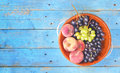 Grapes and peaches, flat lay on a rustic table, good copy s Royalty Free Stock Photo