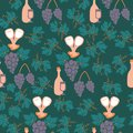 Grapes and wine bottles in a seamless pattern design