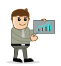 Graph bar office and business people cartoon character vector illustration concept drawing art of businessman holding presenting Stock Photo