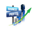 Graph business profits sign illustration design over a white background Stock Image