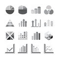 Graph chart Business and financial Icons set balck color. Vector