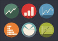 Graph of development icon set abstract flat color Stock Photos