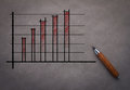 Graph drawing with pencil and bar chart analysis Royalty Free Stock Photo