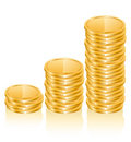 Graph of gold coins Stock Photos