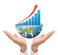 Graph on hand local businessmen some components of this image are provided courtesy of nasa Royalty Free Stock Photo