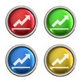 Graph icon glass button Royalty Free Stock Photo
