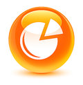 Graph icon glassy orange round button