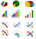Graph illustrations set of colorful and chart Stock Photography