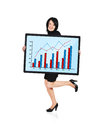Graph of profit woman holding panel with Royalty Free Stock Images