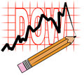Graph showing dow Stock Image