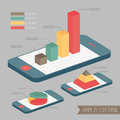Graph on smartphone blue vector Royalty Free Stock Photos