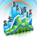 Graph vector illustration of with dollars Royalty Free Stock Photos