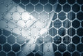 Graphene layer structure model d render illustration with blurred abstract background Stock Images