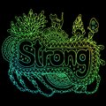 Graphic art with mandala and strong gradient word. Doodle letter