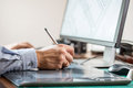 Graphic artist using graphics tablet Royalty Free Stock Photo