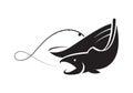 Graphic black fishing boat, vector