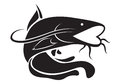 Graphic catfish, vector