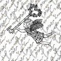 Seamless pattern with angel holding key with roses and text Royalty Free Stock Photo