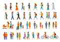 Graphic collection of people walking.family couples,parents, man and woman different age generation walk