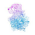 Graphic colored vector cheetah. Royalty Free Stock Photo