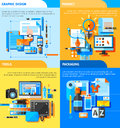 Graphic design concept icons set with project and packaging symbols flat vector illustration Stock Photo
