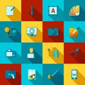 Graphic Design Flat Icons Set Royalty Free Stock Photo