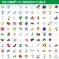 100 graphic design icons set, cartoon style