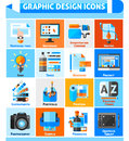 Graphic design icons set square with branding project and tools symbols flat vector illustration Royalty Free Stock Image