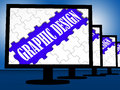 Graphic design on monitors shows digital drawing and concept Stock Images