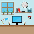 Graphic design profession workdesk with monitor books lamp pc  illustration. Interior of Working place Royalty Free Stock Photo