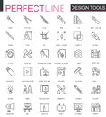 Graphic design program tools palettes. Thin line web icons set. Interface outline stroke icon design.