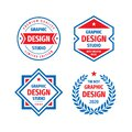 Graphic design studio badge logo vector set in retro vintage style. Premium quality, limited edition. Emblem template collection Royalty Free Stock Photo