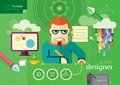 Graphic designer profession series workplace and icons of flat design cartoon style Stock Photography