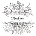 Graphic floral illustration - black & white inked flowers border / frame / header Royalty Free Stock Photo