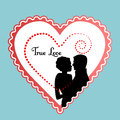Graphic heart with couple decorative loving wedding engagement valentine concept Stock Photos