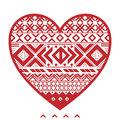 Graphic heart red seethrough cutout with nordic pattern Stock Photo