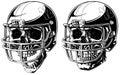 Graphic human skull in american football helmet