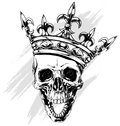 Graphic human skull with king crown