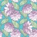 Graphic illustration floral Dahlia or Rose flowers with leaves pastel seamless pattern on teal background