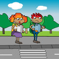 Graphic illustration kids front pedestrian crossing Royalty Free Stock Images