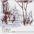 Graphic illustration of rome poster duotone italy design two color pencil sepia Royalty Free Stock Image