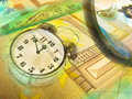 Graphic, magnifier, money and clock, collage Stock Photo
